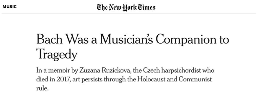 The New York Times reviews Zuzana's remarkable memoir.